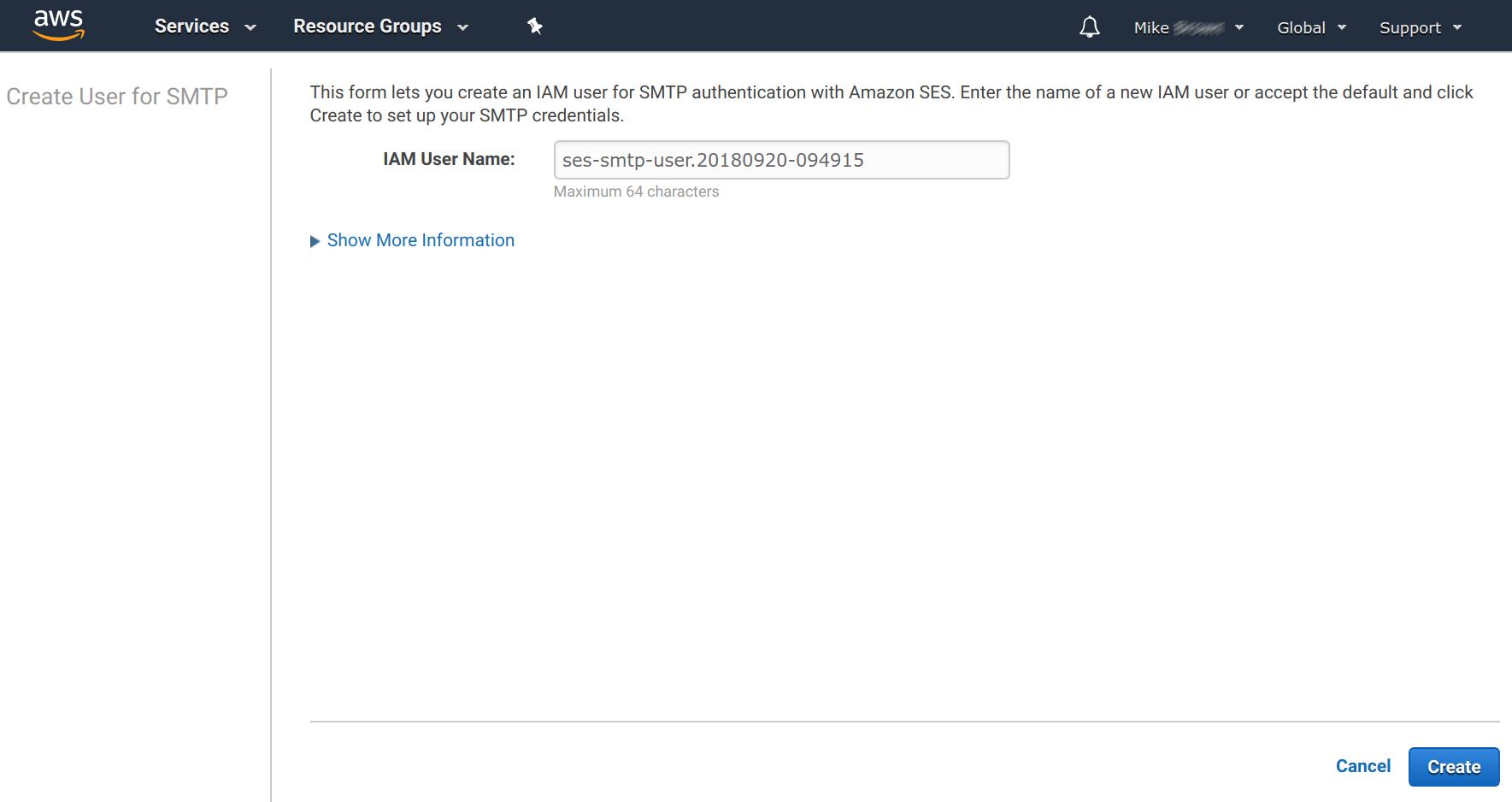 Amazon SES - Creating SMTP User