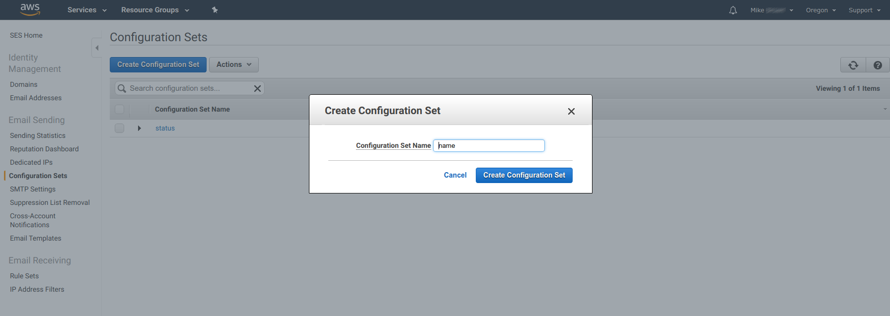 Amazon SES - Adding new Configuration Set