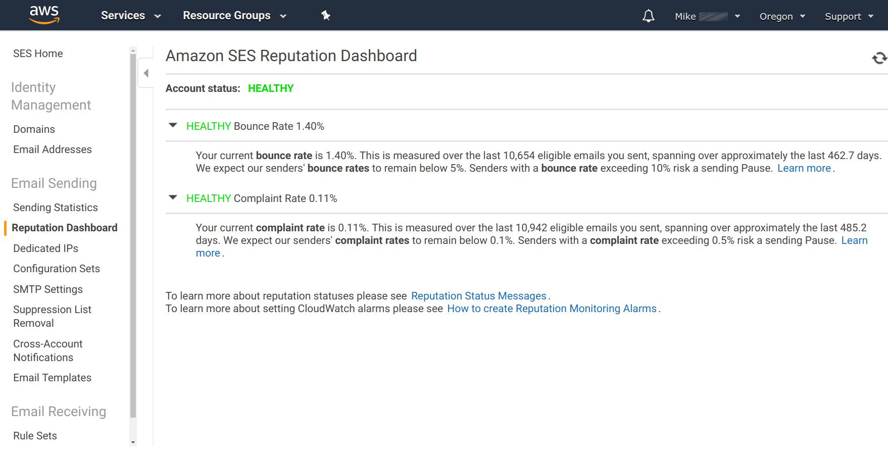 Amazon SES - Reputation Dashboard
