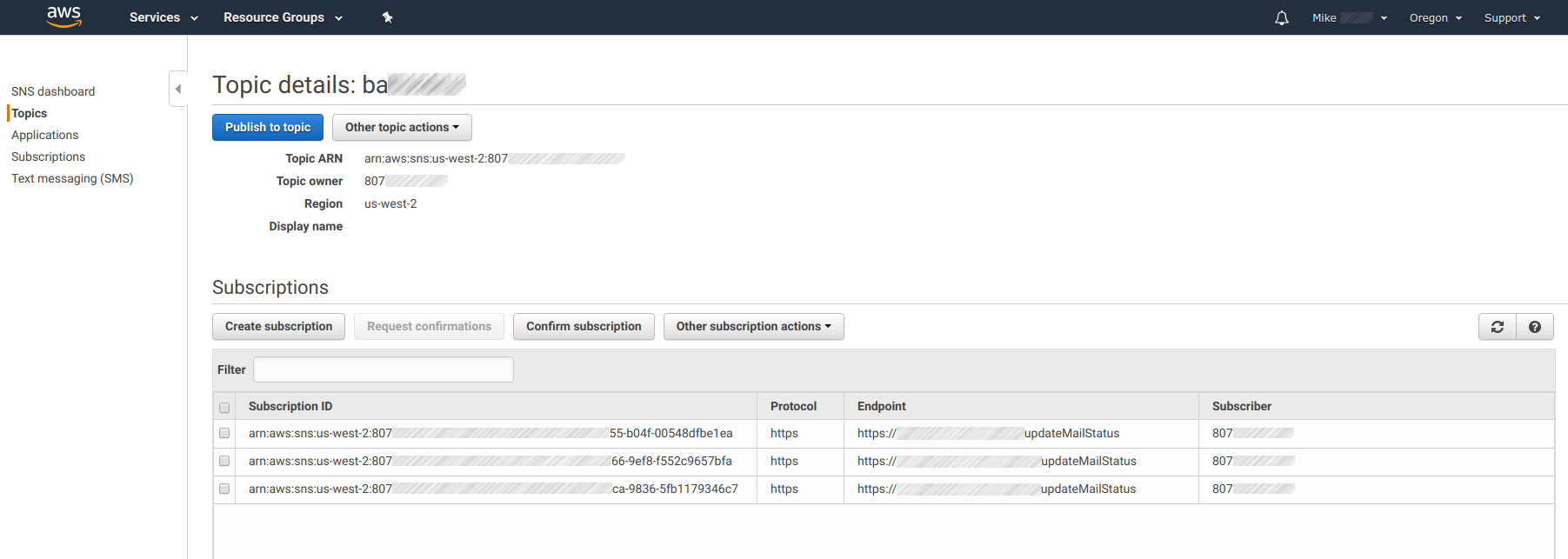 Amazon SNS - Configuring SNS Destination