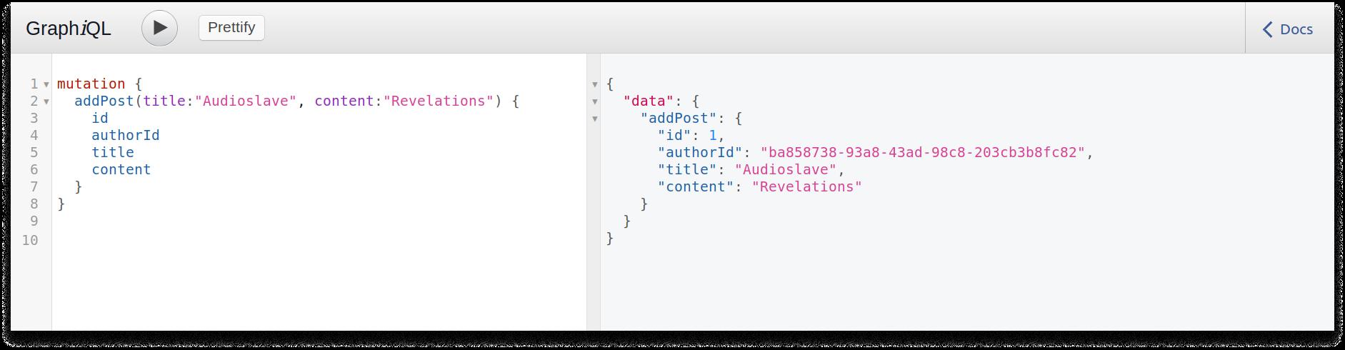 GraphQL query to add a post in a Scala GraphQL application