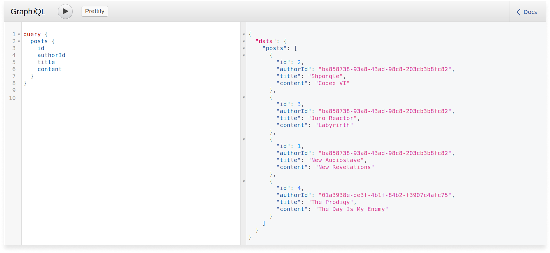 GraphQL query to get all posts with different authors in a Scala GraphQL application