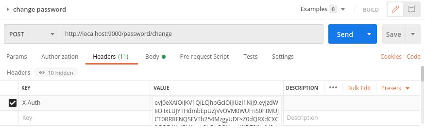 Change Password Endpoint Test: Set Header